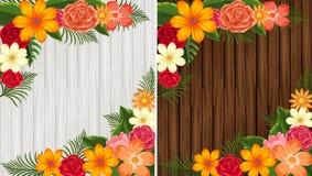 Fiori variopinti su fondo di legno nel bianco e nel marrone illustrazione di stock