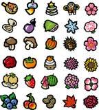 Fiori, verdure, raccolta dell'icona dell'alimento Fotografie Stock Libere da Diritti