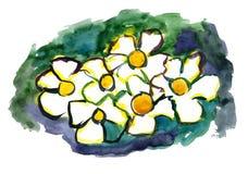 Fiori verniciati in acquerello Fotografie Stock