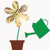 Fiorisca con i petali di valuta dei soldi della rupia dell'India in vaso di fiore, illustrazione per dimostrare come coltivare i  fotografie stock libere da diritti