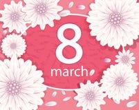 Fiorisca il fondo, fiori bianchi su un fondo rosa Immagini Stock Libere da Diritti