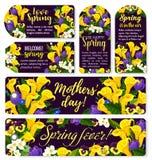 Fiorisca l'etichetta per progettazione di festa della primavera o del giorno di madre illustrazione di stock