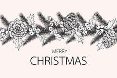 Fiorisca l'illustrazione del disegno della struttura per il giorno del ` di Buon Natale royalty illustrazione gratis