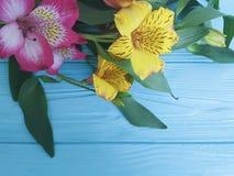 Fiorisca la bellezza di fioritura decorativa su un fondo di legno di colore, struttura di struttura di alstroemeria del mazzo Fotografie Stock