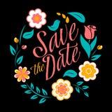 Fiorisca la carta dell'invito di nozze, conservi la data Immagini Stock