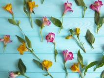 Fiorisca la decorazione di alstroemeria su un fondo di legno di colore Immagine Stock Libera da Diritti