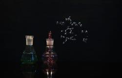 Fiorisca nella soluzione verde e viola nel laboratorio della boccetta e del becher Fotografia Stock Libera da Diritti