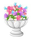 Fiorisca in vasi da fiori grigi ceramici per coltivazione delle piante Vaso di argilla in un isometry, isolato su un fondo bianco royalty illustrazione gratis