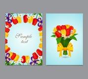 Fiorisce il fondo, tulipani del mazzo Progettazione del modello di vettore dell'aletta di filatoio, opuscolo Fotografie Stock