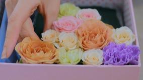 Fiorista professionista che fa il contenitore di regalo con i fiori al deposito di fiore video d archivio