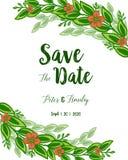 Fioriture frondose verdi della struttura del fiore dell'illustrazione di vettore con la carta dell'invito di nozze salvo la data illustrazione vettoriale