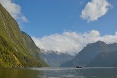 Fiorland, New Zealand. Traveling by boat in Fiorland, New Zealand Stock Photo