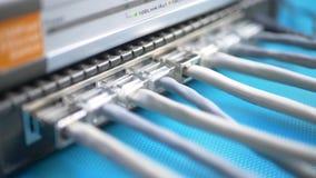 Fios com interface de rede estandardizada RJ45 da telecomunicação nos portos da caixa do router do Internet vídeos de arquivo