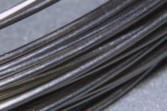 Fios de aço inoxidável em uma imagem do close-up fotografia de stock