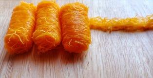 `Fios de ovos or Foi thong`  dessert made from egg yolks. stock images