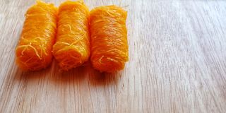 `Fios de ovos or Foi thong`  dessert made from egg yolks. stock photo