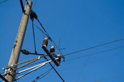 fios elétricos na estrada de ferro foto de stock royalty free