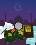 Fiqh fiqih jurysprudenci nauki islamu religii Islamska literatura rezerwuje Szariat boskiego prawo royalty ilustracja