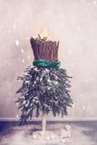 Το μανεκέν Χριστουγέννων έντυσε στους κλάδους του FIR Στοκ Εικόνα