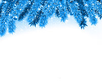 Fir blue christmas background. Detailed blue christmas background with fir twigs and balls. Vector illustration Stock Images
