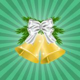 Fir Brances and Golden Christmas bell with red ribbon and bow. Christmas decoration. illustration isolated on green background. Fir Brances and Golden Christmas Royalty Free Stock Photography