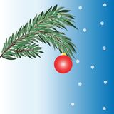 Fir branch with ball. Vector Christmas card background fir branch with ball Royalty Free Stock Photo