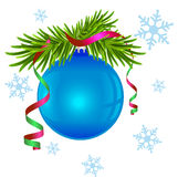 Fir branch and blue Christmas ball. Illustration in vector format Stock Photos