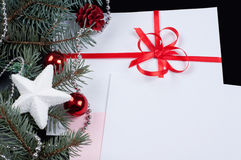 Fir branch and card Royalty Free Stock Photography
