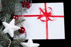 Fir branch and card Stock Image