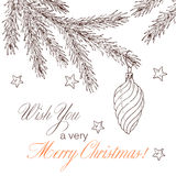 Fir branch 2. Christmas background with fir toy. Vintage holiday frame. Vector illustration Royalty Free Stock Photos