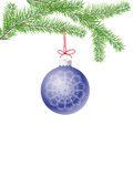 Fir branch with a christmas ball and red ribbon. Isolated on white royalty free illustration