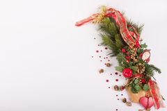 Fir branch with christmas decoration Royalty Free Stock Photography