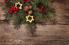 Fir branch with Christmas decoration Royalty Free Stock Image