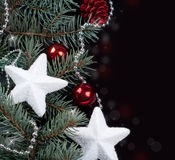 Fir branch and Christmas decorations Royalty Free Stock Photography