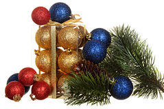 Fir branch and Christmas decorations Royalty Free Stock Photo
