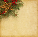 Fir branch with Christmas decorations Royalty Free Stock Photos