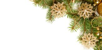 Fir branch with Christmas decorations    on white background Royalty Free Stock Photos