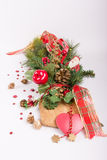 Fir branch for christmas with santa claus Stock Photos