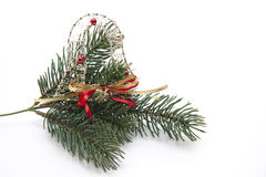 Fir branch with Christmas tree jewellery Stock Photos