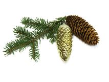 Fir branch, fir cones, new year's toy Royalty Free Stock Photo