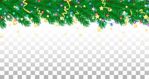 Fir branch, garland, streamers and stars. Holiday border, transparent background. Vector vector illustration