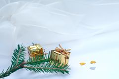 Fir branch and gift boxes Royalty Free Stock Image