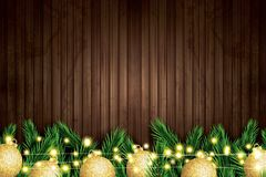 Fir Branch with Golden Christmas Balls and Neon String on Wooden. Background. Vector illustration Royalty Free Stock Photos