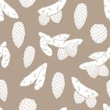Fir branch graphic cone color seamless pattern background sketch illustration vector vector illustration