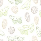 Fir branch graphic cone green color seamless pattern sketch illustration vector Stock Image