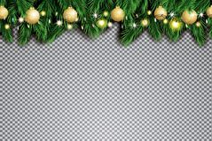 Fir Branch with Neon Lights and Golden Christmas Balls on Transp. Arent Background. Vector illustration Royalty Free Stock Images