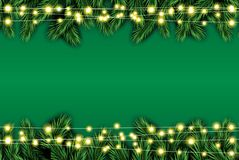 Fir Branch with Neon Lights on Green Background. Vector illustration Royalty Free Stock Photo