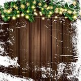 Fir Branch with Neon Lights and Ice on Wooden Background. Merry Christmas and Happy New Year. Vector Illustration Stock Image