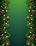 Fir Branch with Neon Lights and Pine Cone on Green Background. M Stock Photography