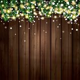 Fir Branch with Neon Lights and Snowflakes on Wooden Background. Merry Christmas and Happy New Year. Vector Illustration Stock Photo